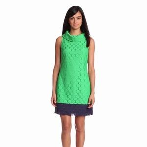 Adrianna Papell | Green Crochet Roll Collar Dress